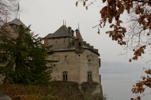 Chateau de Chillon on a cold, wet day